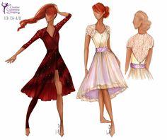 CCD-734-A/B  DESCRIPTION: (A) dress w/one full legging, (B) dress w/attached square cut briefs, (A & B) detail continues to back, zipper back BASE PRICE: $129.50