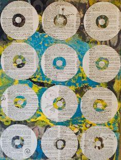 "Around & Around Abstract Acrylic  12""x16"" on birch wood By Cristina Sayers 2016 $345"