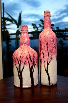 Original Landscape Painting by Kiruba Sekaran Painted Glass Bottles, Glass Bottle Crafts, Wine Bottle Art, Diy Bottle, Decorated Bottles, Cherry Blossom Painting, Cherry Blossoms, Glass Painting Designs, Bottle Painting