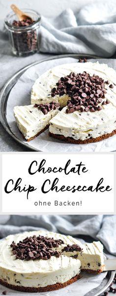 Rezept auf Englisch | Chocolate Chip Cheesecake ohne Backen | eatlittlebird.com