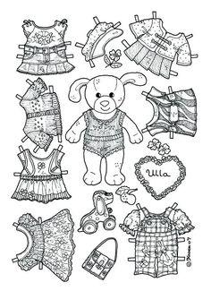 Ulla Paper Doll to Colour. Ulla påklædningsdukke til at farvelægge. Paper Doll Template, Paper Dolls Printable, Coloring Book Pages, Printable Coloring Pages, Paper Art, Paper Crafts, Operation Christmas Child, Dogs And Kids, Vintage Paper Dolls