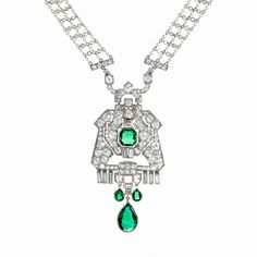 Art Deco Diamond, Emerald and Pearl Sautoir by Cartier and Mauboussin The Cartier seed pearl sautoir, c.1910, has 340 old European-cut and 16 rose-cut diamonds (~7.65 ct). In the late 1920's the sautoir was combined with the Mauboussin diamond and emerald pendant, which contains 82 old European-cut and 11 baguette-cut diamonds (~7.90 ct), a square-cut 2.15 ct Colombian emerald, 2 pear-cut Colombian emeralds (~1.20 ct), and a pear-shaped drop Colombian emerald (~4.30 ct).