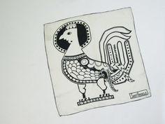 Vintage Sant' Angelo Scarf Designer Silk Aztec Rooster