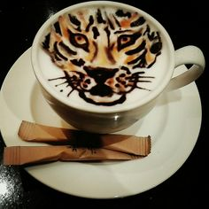 Tiger latte art. Merit Park hotel&casino barista.  North Cyprus