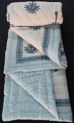 Hand Block Printed Jaipuri Razai Solid White Cotton Print hand Filling Quilt