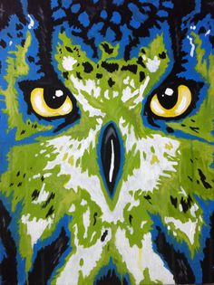 """Original owl painting, abstract colored artwork, 16"""" X 20"""" canvas. on Etsy, $150.00"""