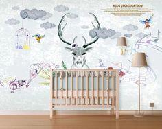 3D Deer Head 475 Wall Murals | AJ Wallpaper Kids Room Wallpaper, Paper Wallpaper, New Wallpaper, Self Adhesive Wallpaper, Custom Wallpaper, Custom Wall Murals, 3d Wall Murals, 3d Hand, Traditional Wallpaper