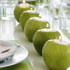 Green apple candles these would be cute on the table too! Summer Table Decorations, Apple Decorations, Decoration Table, White Candles, Diy Candles, Floating Candles, Scented Candles, Deco Floral, Eco Friendly House