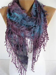 Elegant Multicolor Scarf  Cowl with Lace Edge by MebaDesign