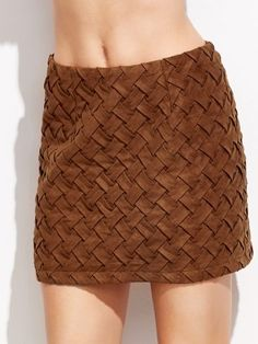Brown Suede Braided Skirt