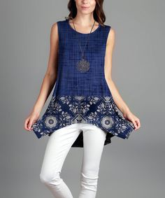 Blue & White Floral Sidetail Tunic - Plus | zulily