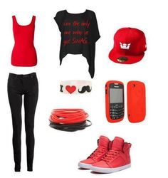 Like the color red? Here's a really pretty outfit for ya.