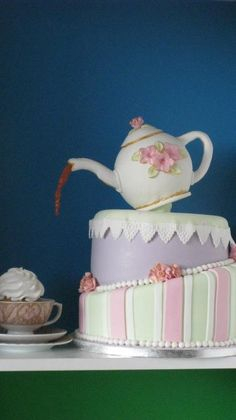Topsy Turvey Teapot cake