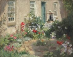 A woman reading in a garden Harold C. Harvey (British, Oil on canvas. The setting of this picture is Laura and Harold Knight's cottage at Oakhill, Lamorna Gate. Harvey, along. Oil Painting Gallery, Oil Painting On Canvas, Woman Reading, Love Garden, Buy Paintings, Art For Art Sake, Various Artists, American Artists, Love Art
