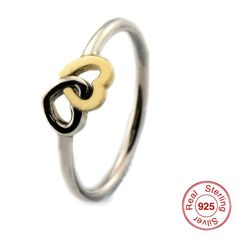 Find More Rings Information about FLR095 Women Gold Rings Double Heart Ring 100% Genuine Sterling Silver Band Best Gift for Girl Friend #52 54 56 58,High Quality gift personalised,China gifts for company employees Suppliers, Cheap gifts tin from Lucky Star Silver Charms on Aliexpress.com