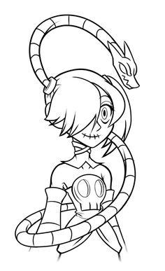 Skullgirls-Squigly by ClassikSkoundrel on DeviantArt Skullgirls, Smurfs, Scary, Art Drawings, Video Games, Fanart, Character Design, Gaming, Sketches