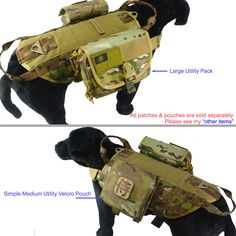 Tactical Dog K9 Training MOLLE Vest Harness 5 Sizes 9 Colors Option | eBay