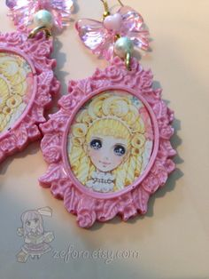 Vintage Blonde Anime Girl Big Pink Decorative Cameo Bow by zefora