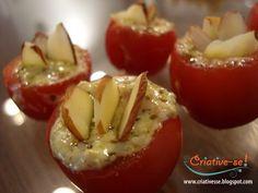 tomate cereja recheado com pesto e lascas de amêndoa