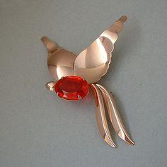 JORDAN Sterling Brooch ROSE Gold Vermeil Modernist Bird Signed LARGE 9.7 Grams c.1940's #ModernistBrooch #RoseGold