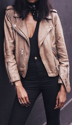 neutral leather jacket.