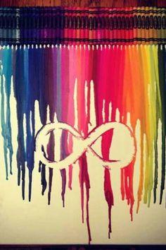 ∞❥∞ infinity sign crayon art on canvas ∞❥∞ Cute Crafts, Diy And Crafts, Arts And Crafts, Teen Crafts, Crayon Canvas, Canvas Art, Canvas Ideas, Heart Crayon Art, Infinity Symbol Art