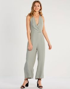 Halter Jumpsuit Washed Olive