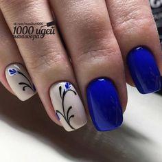 Inspirational Blue Nail Art Designs and Ideas Spring 2018 (pretty spring nail colors) Spring Nail Art, Nail Designs Spring, Spring Nails, Simple Nail Art Designs, Spring Art, Royal Blue Nails Designs, Nail Deco, Nagel Blog, Nails Polish