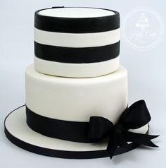 One of last weekend's birthday cakes. #monochrome #striped #bow #black #white