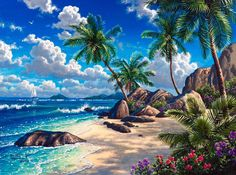Diamond Painting Beach Palms Landscape Kit Offered by Bonanza Marketplace. Cross Paintings, Seascape Paintings, Easy Paintings, Landscape Paintings, Tropical Art, Tropical Paradise, 5d Diamond Painting, Beach Scenes, Beach Art
