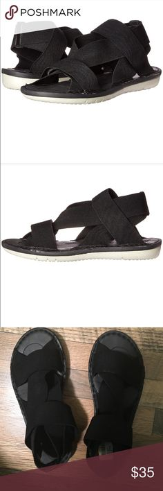 nosox Athena black comfort sandals NWT offers accepted smoke free home Upper features elasticized straps for a truly customized and secure it. Convenient pull-on style with an open toe. Unlined straps. Molded EVA with arch cookie for added support. Features a molded dual-density EVA sock for added comfort. Lightweight and flexible EVA outsole. Imported. Measurements: Heel Height: 1 in Nosox Shoes Sandals