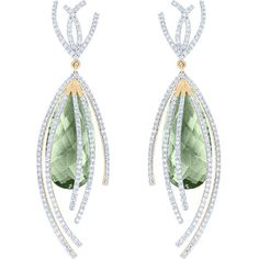 Arya Esha Galaxy Collection Earrings, Prasiolite and Diamonds ($11,815) ❤ liked on Polyvore featuring jewelry, earrings, green, 18 karat gold jewelry, green quartz earrings, diamond earrings, 18k diamond earrings and green diamond earrings