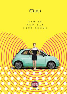 Advertisement for Fiat -- colorful design and I was immediately drawn to the work from the bright colors and combination of patterns.