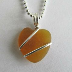 Honey Brown Sea Glass Heart Necklace - Creations by Robin