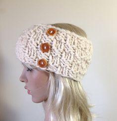 Knit Headband Ear Warmer Women's Chunky Gift for Her by ellinell