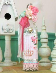 Decorated Bottle Vintage French Roses by TheShabbyBoxBoutique, $36.00