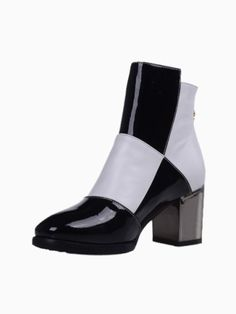Patent Colour Block Ankle Boots With Zip | Choies