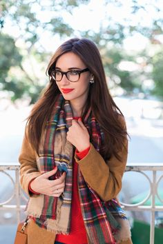 camel coat and plaid scarf. @OldNavy outfit M Loves M @marmar #OldNavyStyle