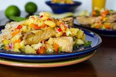 Grilled Tofu with Pineapple Salsa and Coconut Rice
