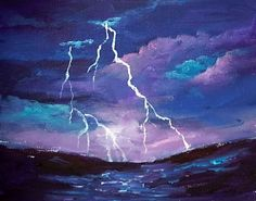 "Lightening and clouds are featured in this ""storm cloud"" painting.  #gingercooklive #art"