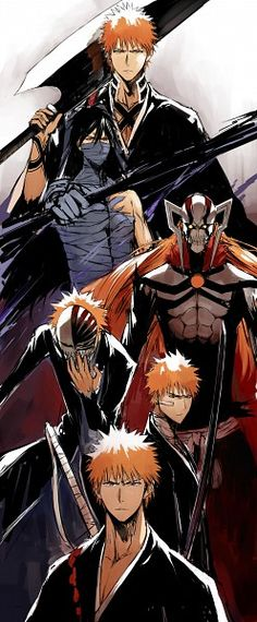 Ichigo Kurosaki (黒崎 一護, Kurosaki Ichigo) is a Human who has Shinigami powers. He is also a Substitute Shinigami. Ichigo is the son of Isshin and Masaki Kurosaki, and older brother of Karin and Yuzu. Manga Anime, Anime Yugioh, Anime Body, Anime Pokemon, Manga Art, Bleach Manga, Bleach Anime Art, Cosplay Anime, Shinigami