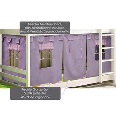 Cortina tipo Tenda Castelo Lilás para Beliche Multifuncional - Casatema - CasaTema