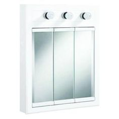 Design House Concord 24 in. W 3-Light Tri-View Medicine Cabinet in White Gloss-532374 at The Home Depot