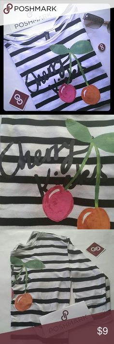 "HP 7/4/16 Fun striped  3/4 sleeve shirt ""Cherry kisses"" striped shirt. So comfy! H&M/Divided Divided Tops"