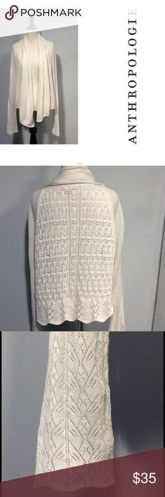 🐞 Anthropologie Moth Cardigan Large Beautiful crocheted back cardigan by Moth. It has belled sleeves, open flowing front and scalloped edge on the back. The fabric is a linen and cotton blend. EUC Anthropologie Sweaters Cardigans