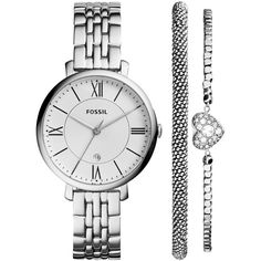Fossil Women's Jacqueline Stainless Steel Bracelet Watch Set 36mm... ($145) ❤ liked on Polyvore featuring jewelry, watches, bracelets, fossil bracelet, bracelet jewelry, hinged bangle, stainless steel jewelry and fossil charms