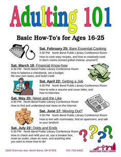 "About seven months ago, I noticed a new trend among public libraries of offering ""adulting"" programs. When I first saw a posting via social media about this program, my brain screamed, ""Where were … Teen Programs, Youth Programs, Library Programs, School Programs, Library Activities, Activities For Teens, Library Science, Teaching Life Skills, Life Skills Lessons"