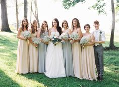 Bridesmaids in gorgeous pale blue and beige dresses by @Dessy Group #wedding