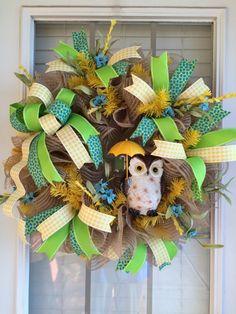 Summer Showers Owl Wreath, Spring Wreath, Summer Wreath