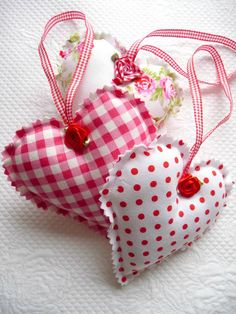 Shabby Chic Decorative Red Gingham, Polka Dot, Floral Hanging Hearts, Christmas Ornament, Satin Roses, Valentine, Trio via Etsy